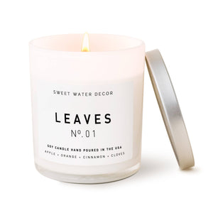 Sweet Water Decor - Leaves Soy Candle | White Jar Candle