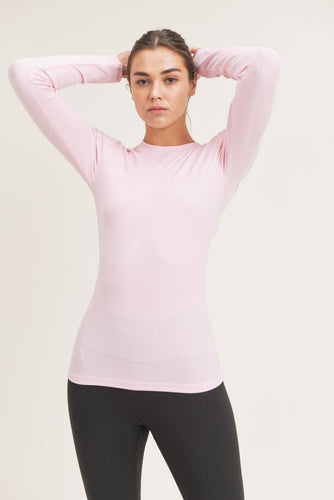 Mono B - Essential Long-Sleeved Micro-Ribbed Athleisure Top