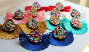 Laalee Jewelry - Colorful Tassel Earrings, Stud Tassel Earrings