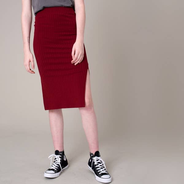 Burgundy Ribbed Pencil Skirt with Slit