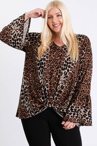 Plus Size Leopard Print Front Twist Bell Sleeve Top