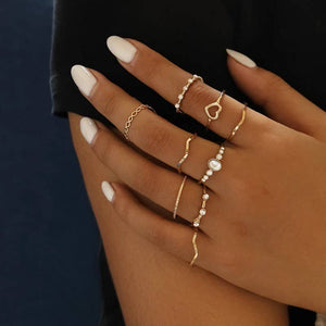 A Little Wrist Glam - Vintage Stacking Heart Ring Set