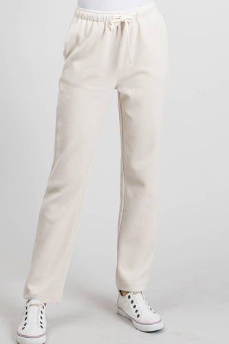 Allie Rose - Soft Stretchy Corduroy Lounge Pants - Tan