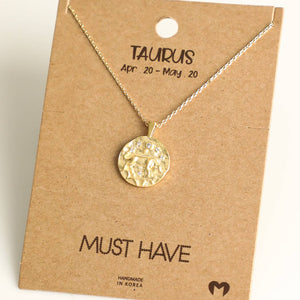 Fame Accessories - Taurus Zodiac Coin Necklace