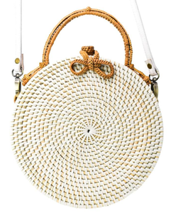 POPPY + SAGE - White Milly Bag: Palm Leaf