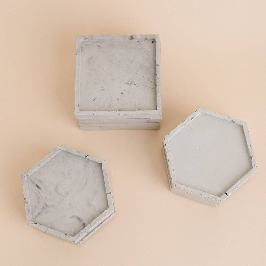 Sweet Water Decor - Marble Concrete Hexagon Tray