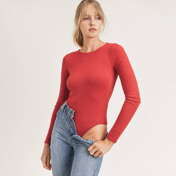Ribbed Bodysuit with Long Sleeves