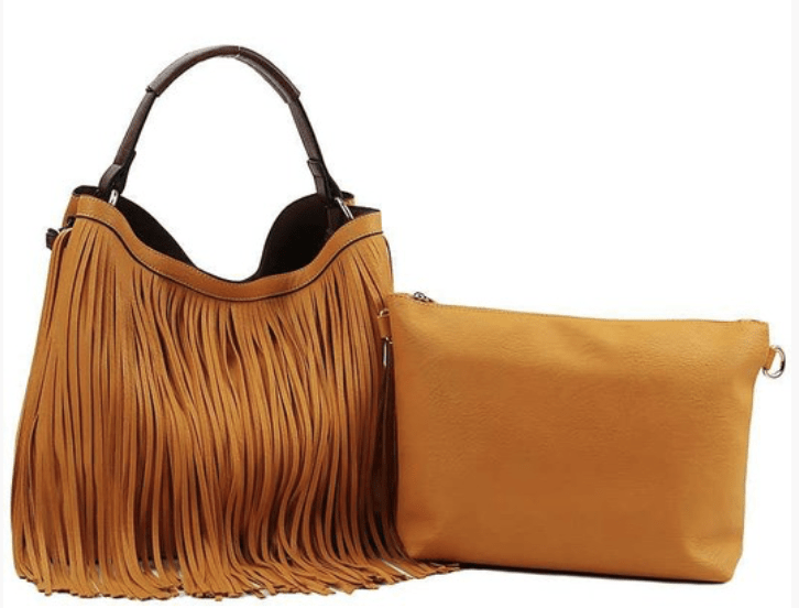 Three Bird Nest - Precious Holdings Fringed Hobo Bag - Mustard