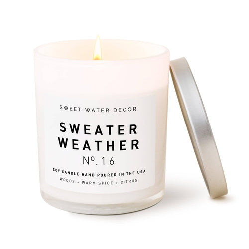 Sweet Water Decor - Sweater Weather Soy Candle | White Jar Candle