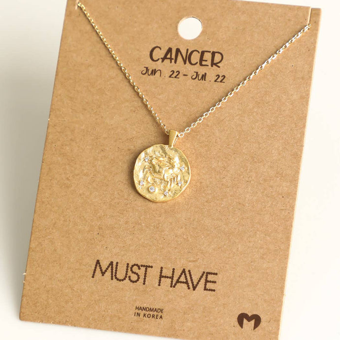 Fame Accessories - Cancer Zodiac Coin Necklace