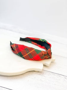 Prep Obsessed - Holiday Plaid Top Knot Headband