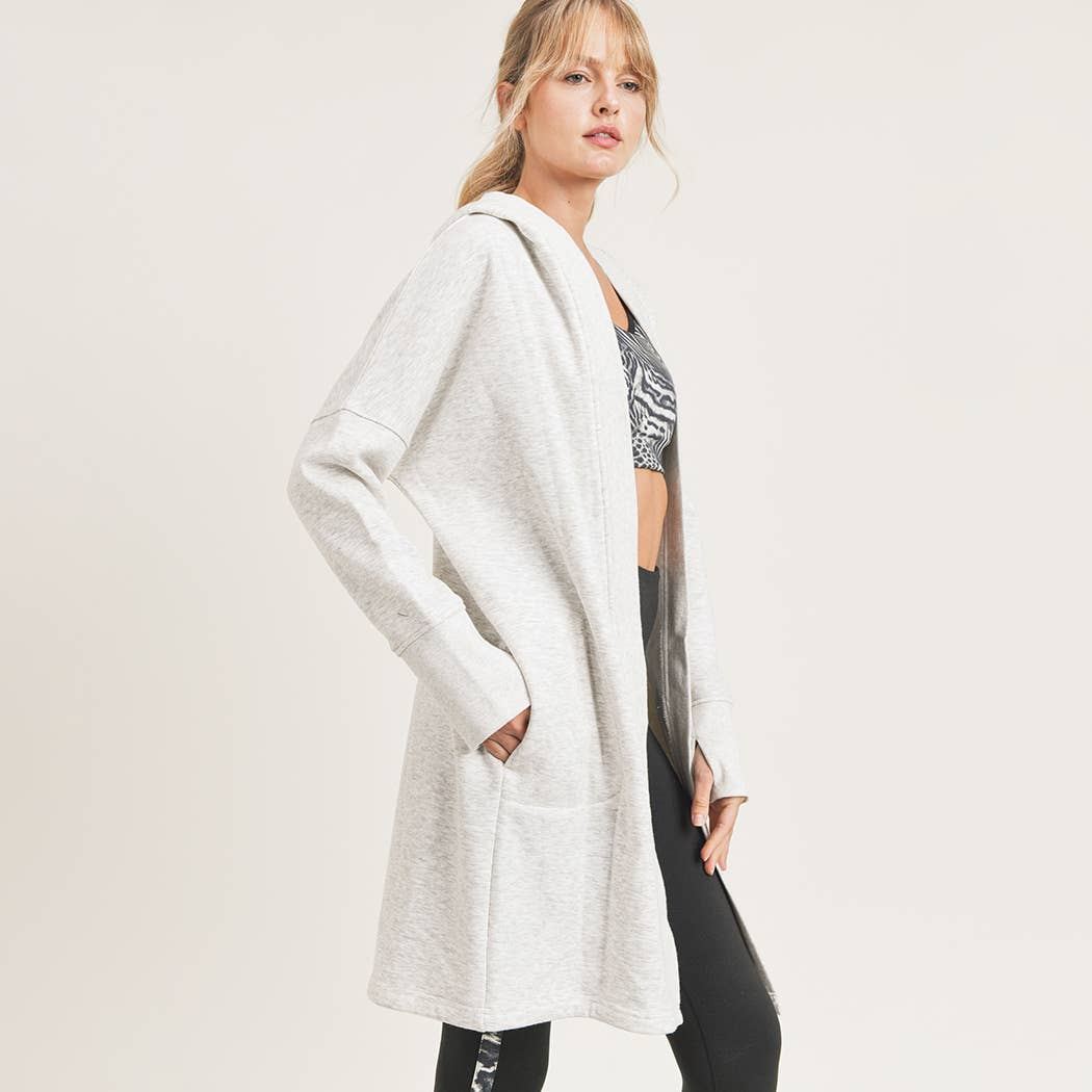 Mono B - Open Front Longline Hoodie Cardigan with Fleece Lining