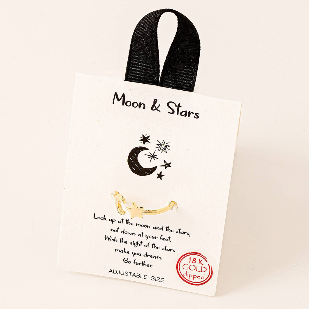 Fame Accessories - Dainty Moon And Stars Ring