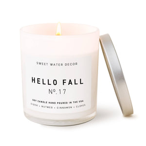 Sweet Water Decor - Hello Fall Soy Candle | White Jar Candle