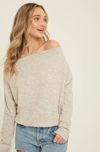 Bluivy - HEATHERED KNIT OFF SHOULDER TOP