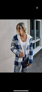 Blue Plaid Reversible Sherpa Jacket