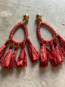 Red Ruffle Earrings