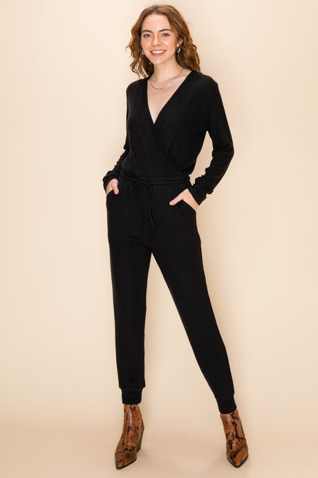 Cotton Vneck Jumpsuit - Black