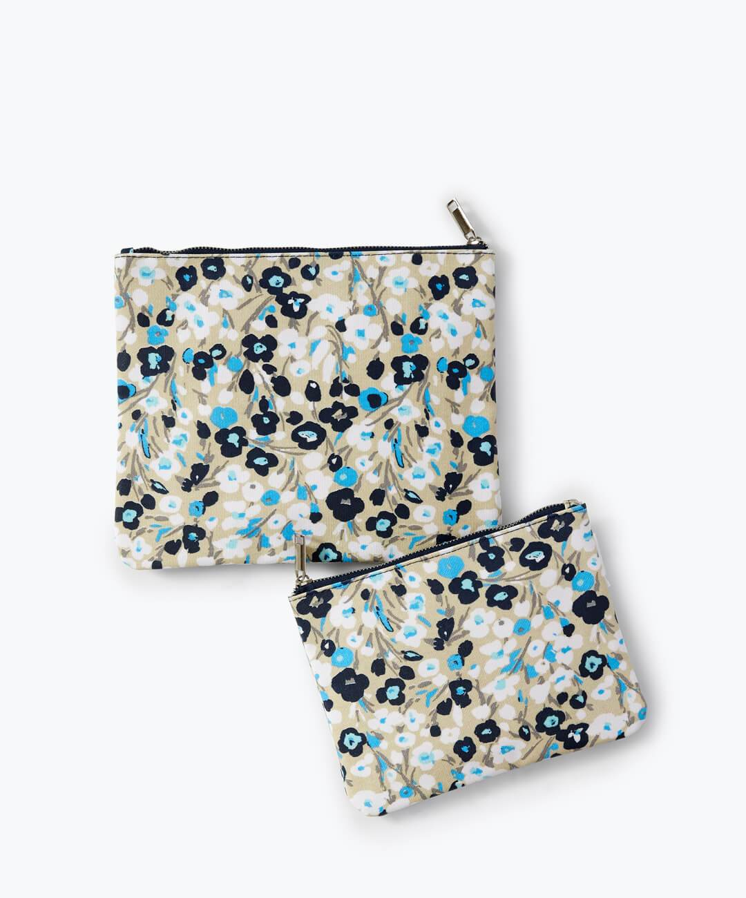 Coated Canvas Floral Flat Zip Pouch Navy
