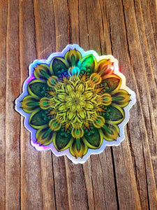 ALIEN SUNFLOWER HOLOGRAPHIC DIE CUT STICKER (LE 50)