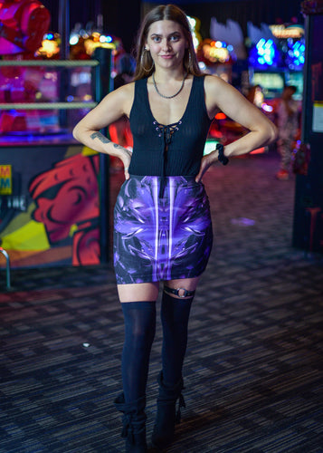 PURPLE ALIEN MINI SKIRT