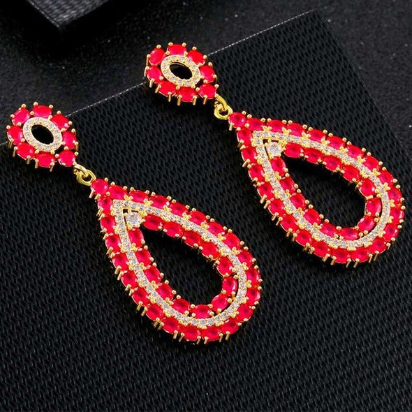 Classic Hot Sale Copper Zirconia Crystal Rhinestone Pendant Earrings CZ Jewelry Long Drop Dangle Earrings Jewelry For Women