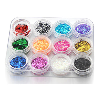 12 pcs/lot Acrylic Polyester Glitter Powder Shimmer Decoration for Body