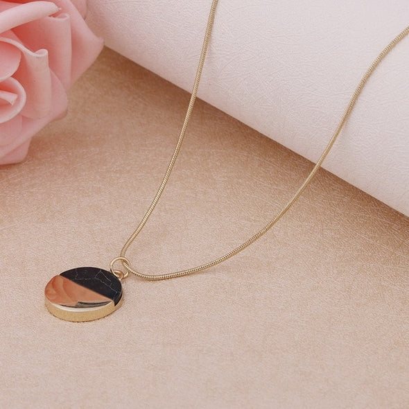 MloveAcc Brand High Quality Marbled Faux White/Black Stone Disc Pendant Necklace Women Jewelry