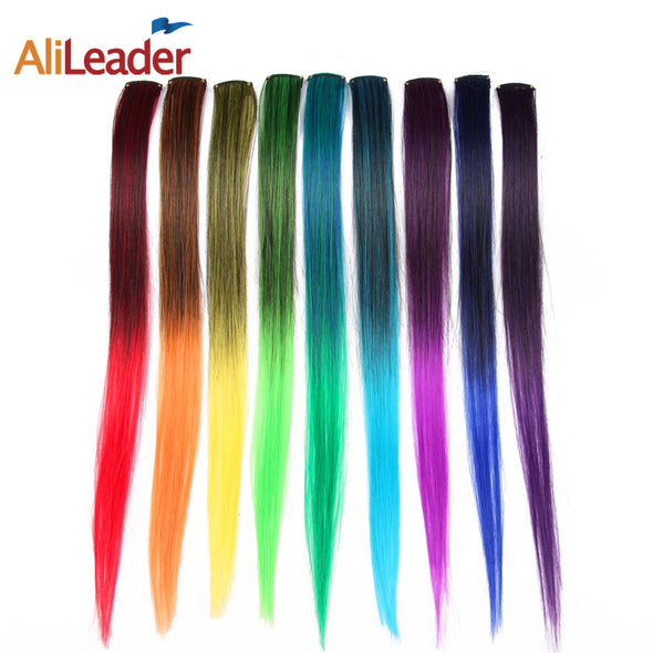 Long Ombre One Piece Synthetic Straight Hair Extension