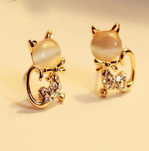 Cute Cat Stone Crystal Rhinestone Stud Earrings