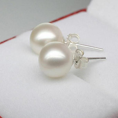 Silver Crystal Rhinestone Pearl Earrings