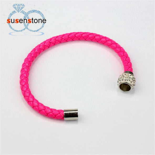 Magnetic Rhinestone Leather Wrap Bracelet