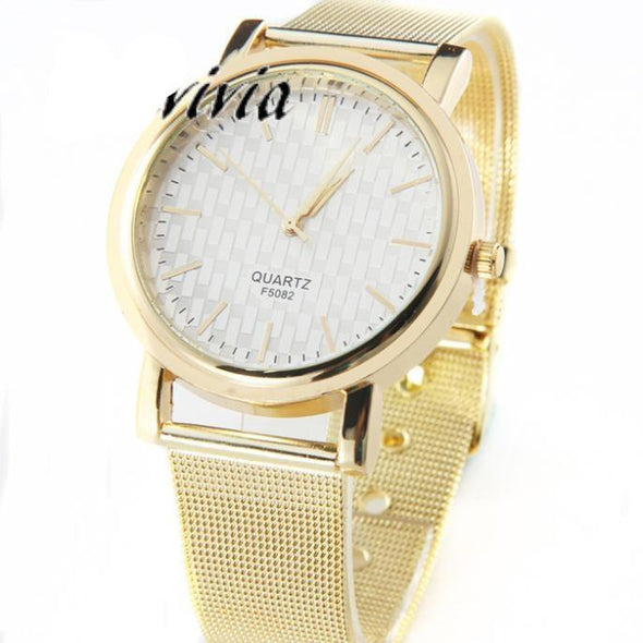 Gold Stainless Steel Analog Wrist Watch