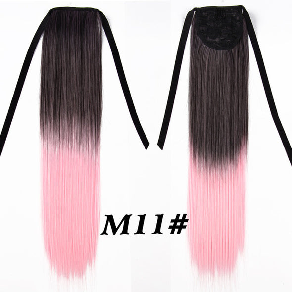 Long Straight Ombre Ponytail Hair Extensions 20 Inch 51cm Clip In Synthetic Fake Hair Pieces
