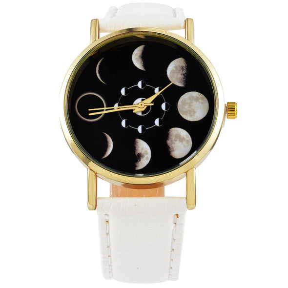 Round Eclipse Pattern PU Leather Quartz Wrist Watch