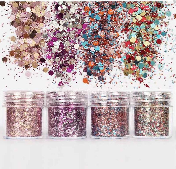 4 Boxes/Set Chunky Glitter Decor