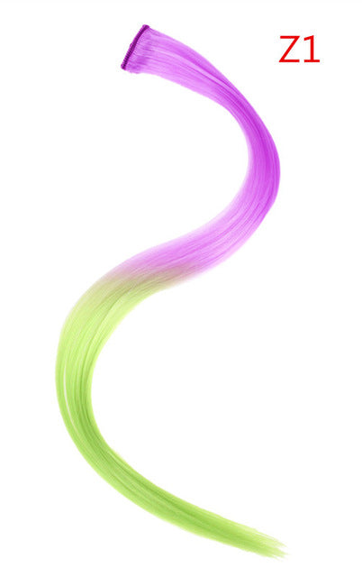 "20"" Long Straight Fake Colored Hair Extensions Clip in Highlight Rainbow Hair"