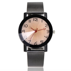 Stainless Steel Round Glass Mesh Watch