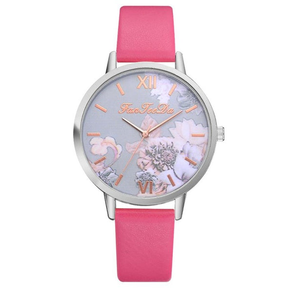 Flower Print Analog Alloy Causal Watch