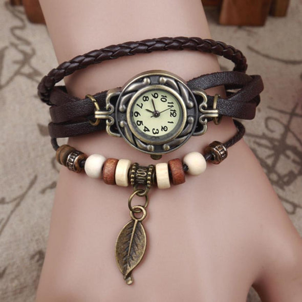 Leaf Pendant Bracelet Wrist Watch