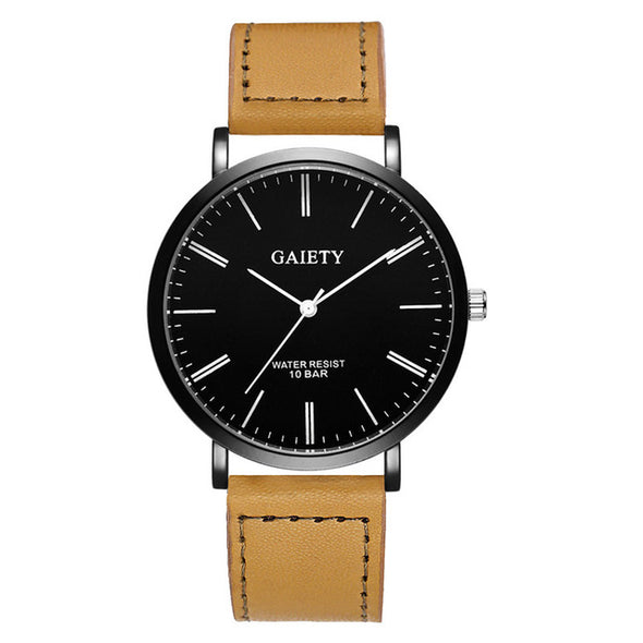 Leather Band Analog Quartz Watches for Men