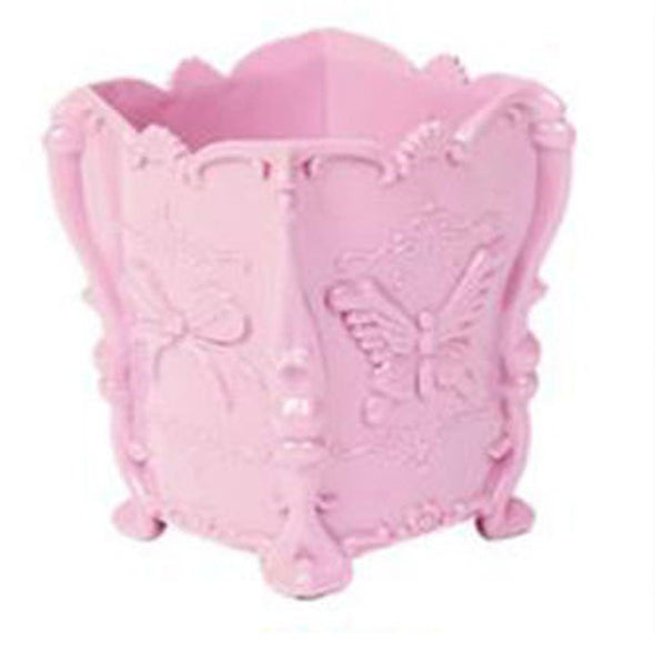 Butterfly Carved Style Makeup Brush Cylinder Tubular Container Plastic Storage Box Material Functional Make-up Tools Essential
