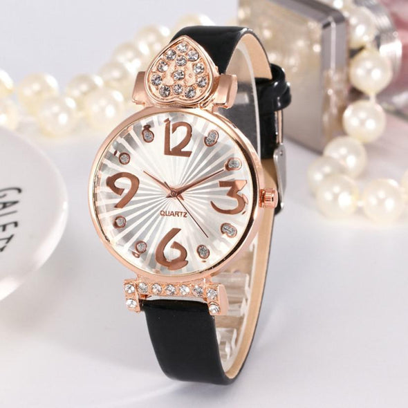 Womens Luxury Watches Casual PU Leather Strap Rhinestone Analog Quartz Round Wrist Watches Relogio femininos zegarek damski Gift