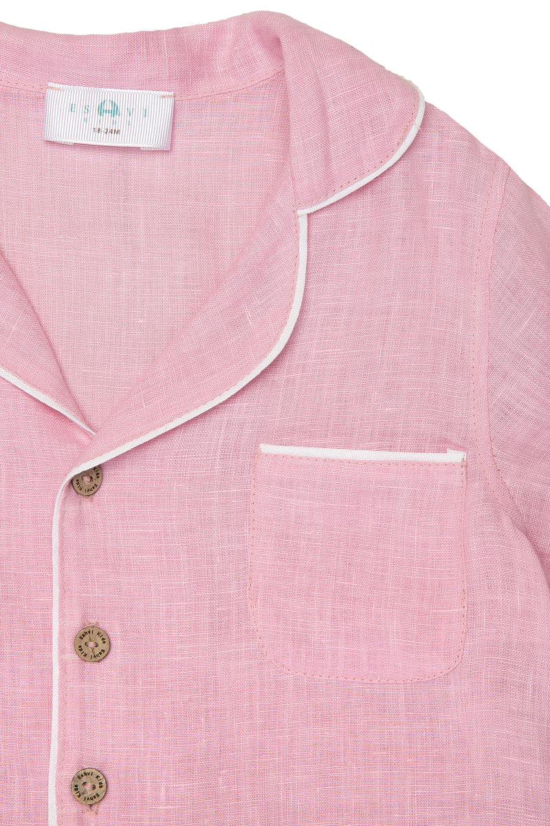 Pink LINEN SHIRT WITH short SLEEVES