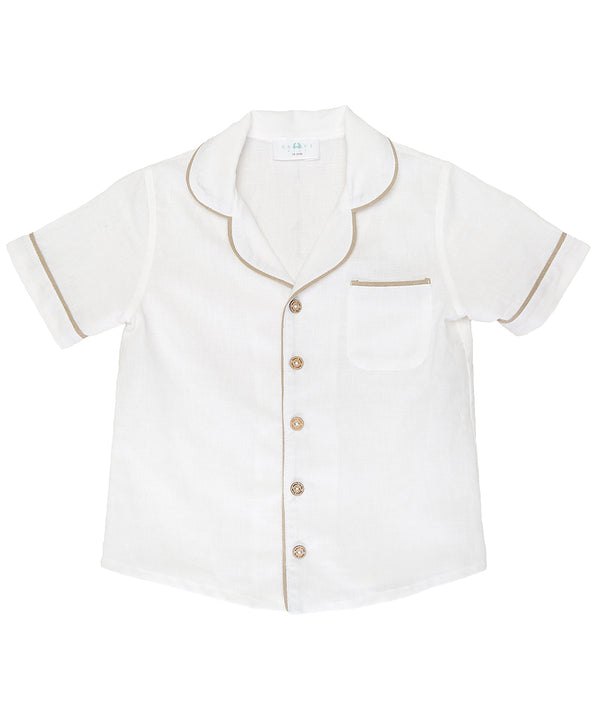 White LINEN SHIRT WITH short SLEEVES