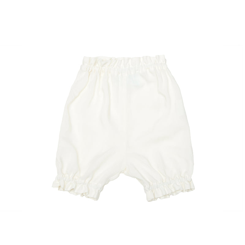 Organic Cotton - Summer Short with Ruffles in White