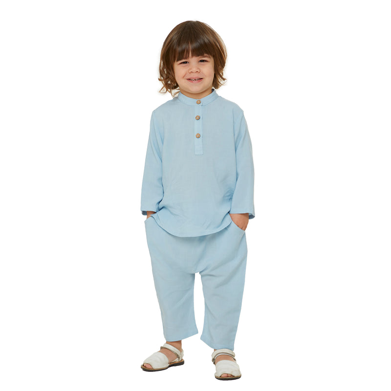 Organic Shirt with long sleeves - Baby Blue