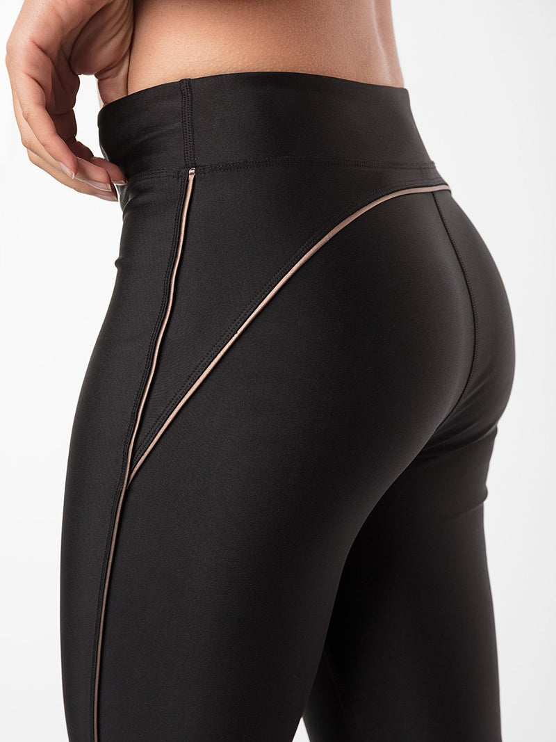 ENSMBL Bottoms Obsidian Piping Legging Black-Copper / XS / ENSP6386