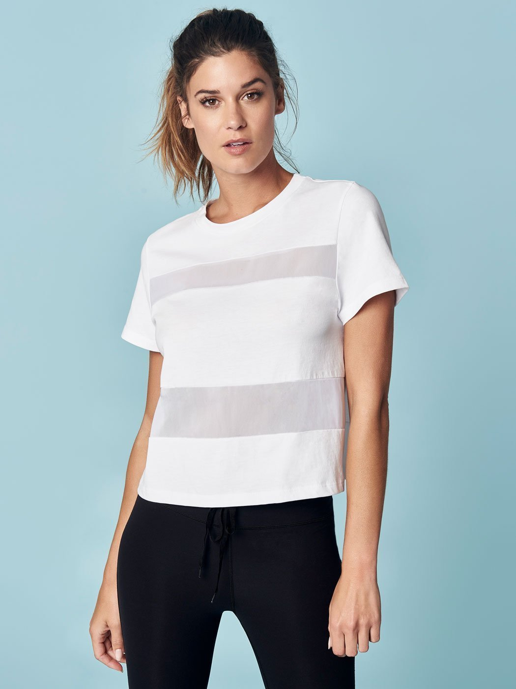 ENSMBL Tops All Hours Paneled Crop Tee, White White / XS / ENST50031