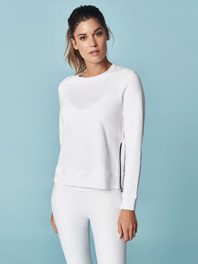 ENSMBL Tops Off Duty Side-Zip Sweatshirt, White White / XS / ENST50022